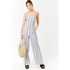 Forever 21 Striped Cami Jumpsuit